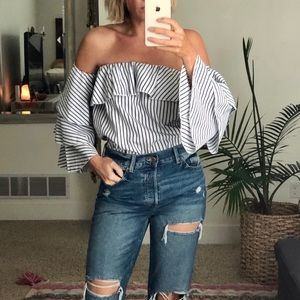 Nautical stripe off shoulder top - small
